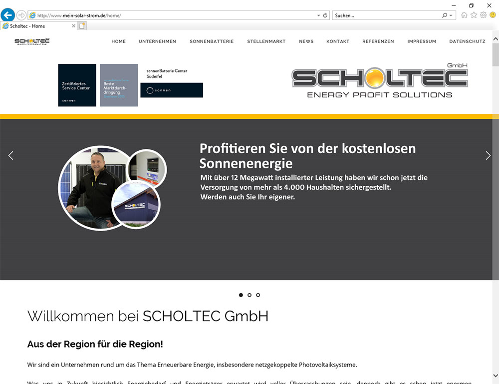 Firma Scholtec - Energy Profit Solution. Sonnenbatterie Vertriebspartner